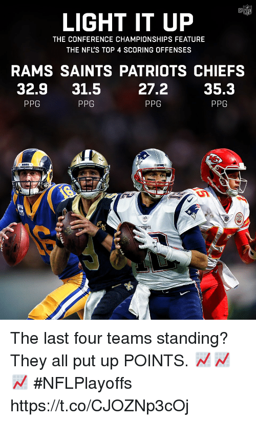 Memes, Nfl, and Patriotic: LIGHT IT UP  NFL  THE CONFERENCE CHAMPIONSHIPS FEATURE  THE NFL'S TOP 4 SCORING OFFENSES  RAMS SAINTS PATRIOTS CHIEFS  32.9 31.5  27.2  PPG  35.3  PPG  PPG  PPG  TRIOTS The last four teams standing?  They all put up POINTS. 📈📈📈 #NFLPlayoffs https://t.co/CJOZNp3cOj