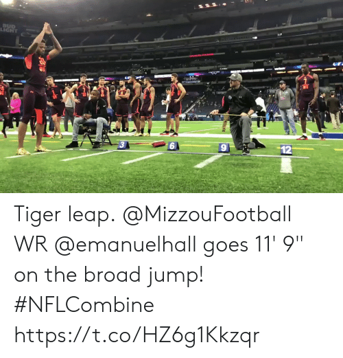 """broad: LIGHT Tiger leap.  @MizzouFootball WR @emanuelhall goes 11' 9"""" on the broad jump! #NFLCombine https://t.co/HZ6g1Kkzqr"""