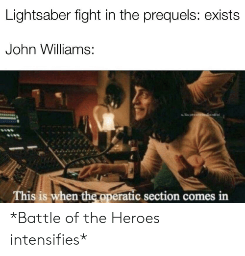 Lightsaber, Heroes, and John Williams: Lightsaber fight in the prequels: exists  John Williams:  u/Supre  anBoi  is is when the pperatic section comes in *Battle of the Heroes intensifies*