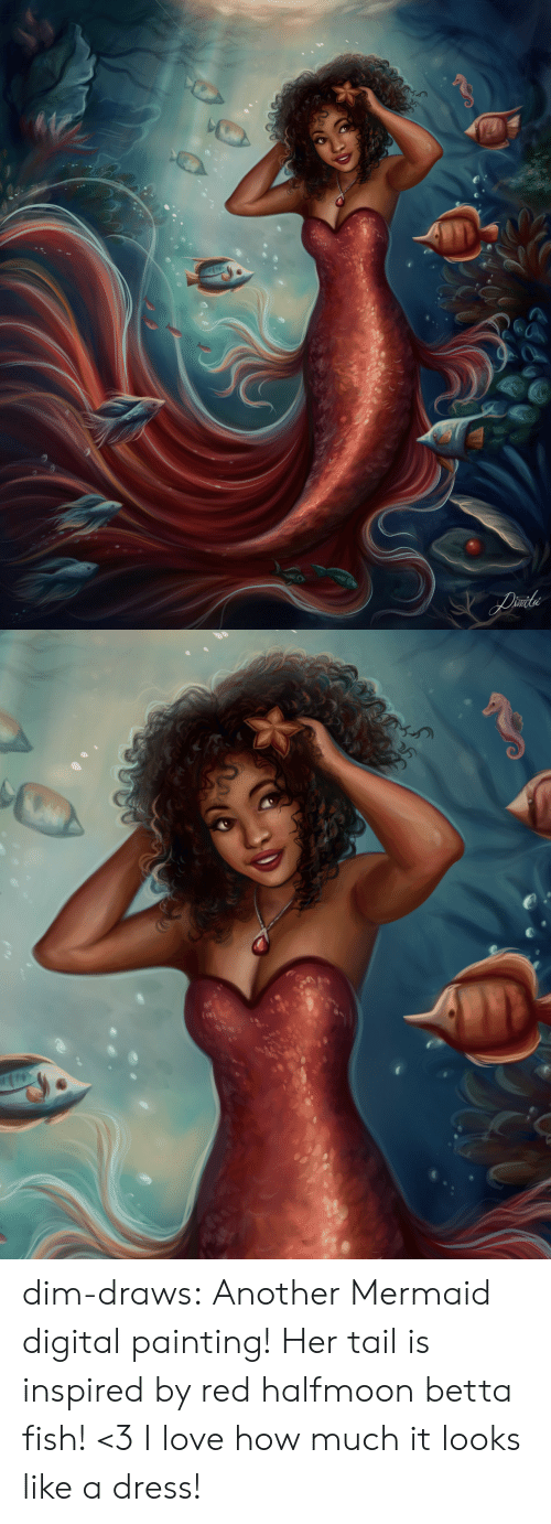 digital painting: Liile dim-draws:  Another Mermaid digital painting! Her tail is inspired by red halfmoon betta fish! <3 I love how much it looks like a dress!