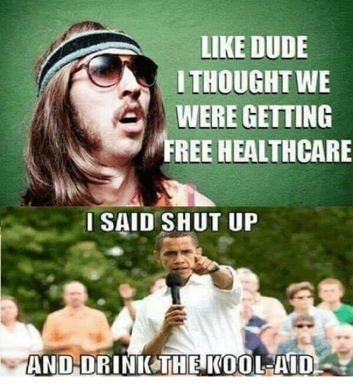 Dude, Kool Aid, and Memes: LIKE DUDE  ITHOUGHT WE  WERE GETTING  FREE HEALTHCARE  ISAID SHUT UP  AND-DRINICTHE KOOL-AID