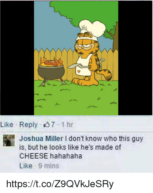 Cheese, Who, and Joshua: Like Reply 37 1hr  Joshua Miller I don't know who this guy  is, but he looks like he's made of  CHEESE hahahaha  Like 9 mins https://t.co/Z9QVkJeSRy