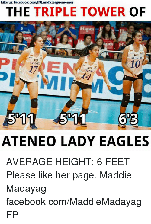 Averagers: Like us: facebook.com/PSLandvleaguememes  THE TRIPLE TOWER  OF  apes  ATENEO  10  ATENEO  ATENEO  ATENEO LADY EAGLES AVERAGE HEIGHT: 6 FEET  Please like her page. Maddie Madayag facebook.com/MaddieMadayagFP