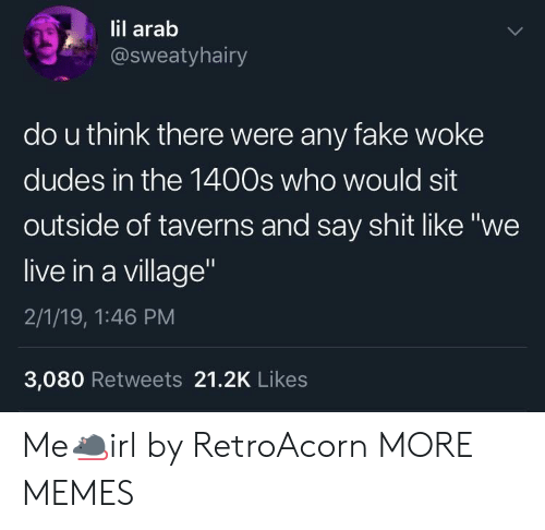 """Dank, Fake, and Memes: lil arab  @sweatyhairy  do u think there were any fake woke  dudes in the 1400s who would sit  outside of taverns and say shit like """"we  live in a village  2/1/19, 1:46 PM  3,080 Retweets 21.2K Likes Me🐀irl by RetroAcorn MORE MEMES"""