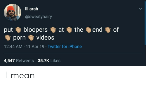Bloopers: lil arab  @sweatyhairy  put bloopers at the end of  porn videos  12:44 AM 11 Apr 19 Twitter for iPhone  4,547 Retweets 35.7K Likes I mean