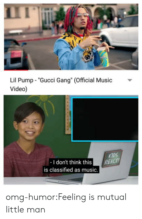 """classified: Lil Pump """"Gucci Gang"""" (Official usic  Video)  KIDS  -I don't think this REACT  is classified as music. omg-humor:Feeling is mutual little man"""