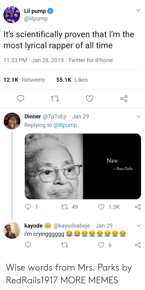 Dank, Iphone, and Memes: Lil pump  @lilpump  It's scientifically proven that l'm the  most lyrical rapper of all time  11:53 PM Jan 28, 2019 Twitter for iPhone  12.1KRetweets 55.1KLikes  Dinner @TpTVEp Jan 29  Replying to @lilpump  Naw  -Rosa Parks  t 49  kayode @kayodeabeje Jan 29 Wise words from Mrs. Parks by RedRails1917 MORE MEMES