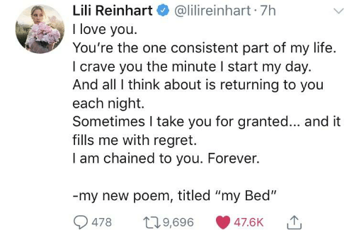 """Life, Love, and Regret: Lili Reinhart@lilireinhart 7h  I love you.  You're the one consistent part of my life.  I crave you the minute I start my day.  And all I think about is returning to you  each night.  Sometimes I take you for granted... and it  fills me with regret.  I am chained to you. Forever.  my new poem, titled """"my Bed""""  9478 09,696 47.6K"""