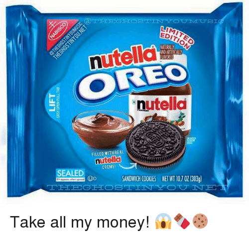 Take All My Money: LIM  utella  NATURALIY  ANDARTIFICIALLY  ANRED  utella  FILLED WITH REAL  ntella  CREME!  SEALED  SANDWICH COOKIES NET WT10,7 OZ (303g)  OD Take all my money! 😱🍫🍪