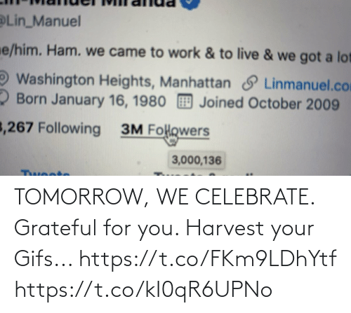 Memes, Work, and Gifs: Lin_Manuel  e/him. Ham. we came to work & to live & we got a lot  Washington Heights, Manhattan S Linmanuel.com  2 Born January 16, 1980 Joined October 2009  3,267 Following  3M Folowers  3,000,136  Twoote TOMORROW, WE CELEBRATE.  Grateful for you.  Harvest your Gifs... https://t.co/FKm9LDhYtf https://t.co/kI0qR6UPNo