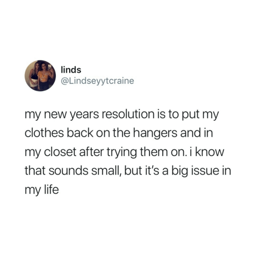 Clothes, Life, and Back: linds  @Lindseyytcraine  my new years resolution is to put my  clothes back on the hangers and in  my closet after trying them on. i know  that sounds small, but it's a big issue in  my life