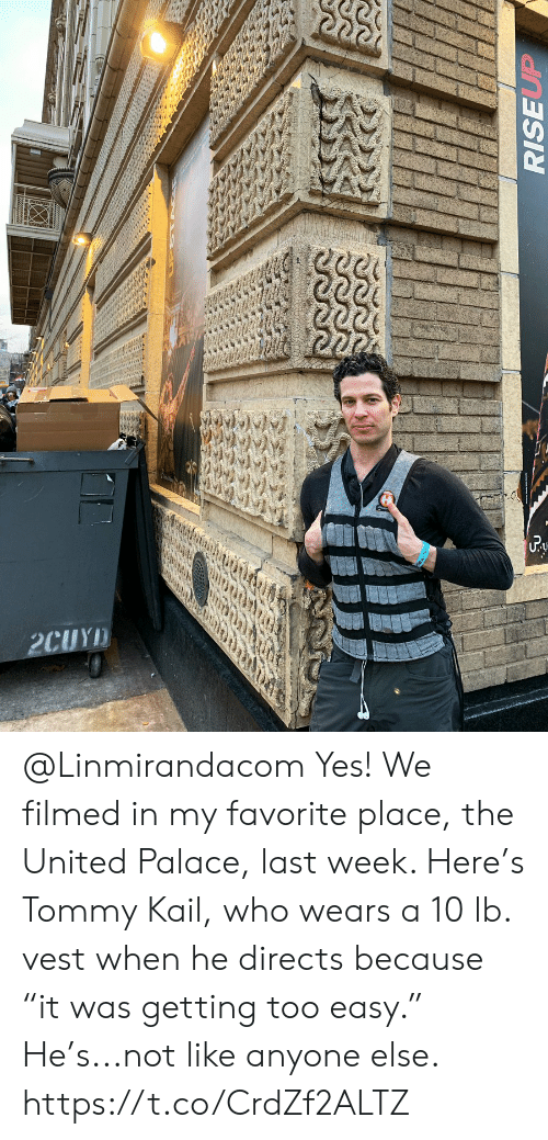 "Memes, United, and 🤖: @Linmirandacom Yes! We filmed in my favorite place, the United Palace, last week. Here's Tommy Kail, who wears a 10 lb. vest when he directs because ""it was getting too easy."" He's...not like anyone else. https://t.co/CrdZf2ALTZ"