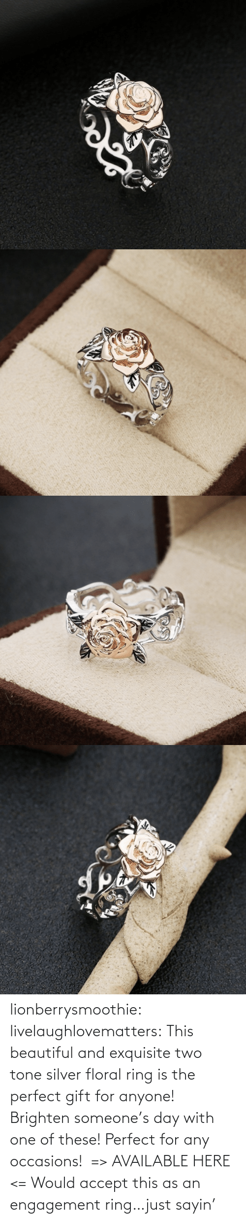 Brighten: lionberrysmoothie:  livelaughlovematters: This beautiful and exquisite two tone silver floral ring is the perfect gift for anyone! Brighten someone's day with one of these! Perfect for any occasions! => AVAILABLE HERE <=    Would accept this as an engagement ring…just sayin'