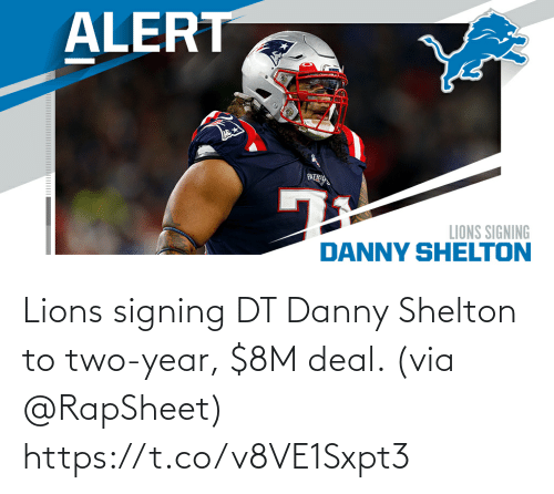 danny: Lions signing DT Danny Shelton to two-year, $8M deal. (via @RapSheet) https://t.co/v8VE1Sxpt3