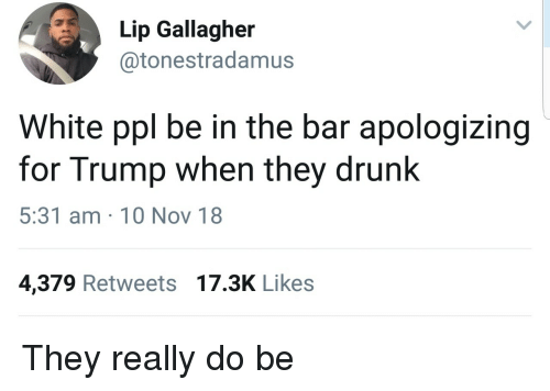 Drunk, Trump, and White: Lip Gallagher  @tonestradamus  White ppl be in the bar apologizing  for Trump when they drunk  5:31 am 10 Nov 18  4,379 Retweets 17.3K Likes They really do be