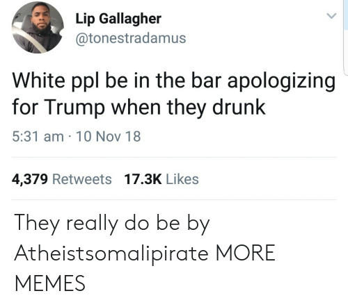 Dank, Drunk, and Memes: Lip Gallagher  @tonestradamus  White ppl be in the bar apologizing  for Trump when they drunk  5:31 am 10 Nov 18  4,379 Retweets 17.3K Likes They really do be by Atheistsomalipirate MORE MEMES