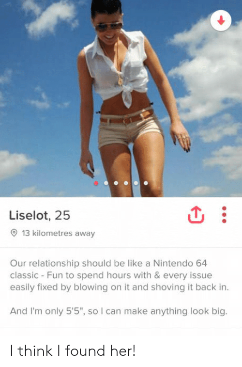 """Be Like, Nintendo, and Back: Liselot, 25  13 kilometres away  Our relationship should be like a Nintendo 64  classic - Fun to spend hours with & every issue  easily fixed by blowing on it and shoving it back in  And I'm only 5'5"""", so I can make anything look big. I think I found her!"""