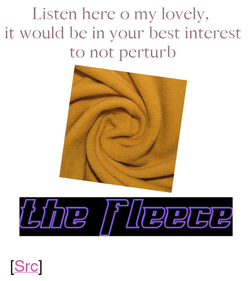 "Reddit, Best, and Com: Listen here o my lovely  it would be in your best interest  to not perturb <p>[<a href=""https://www.reddit.com/r/surrealmemes/comments/7yf54b/the_fleece/"">Src</a>]</p>"