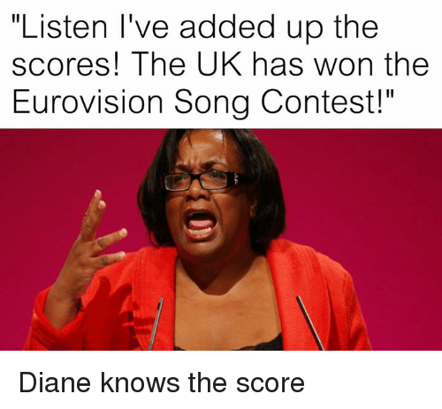 """Dank Memes, Song, and Eurovision: """"Listen I've added up the  scores! The UK has won the  Eurovision Song Contest!"""" Diane knows the score"""