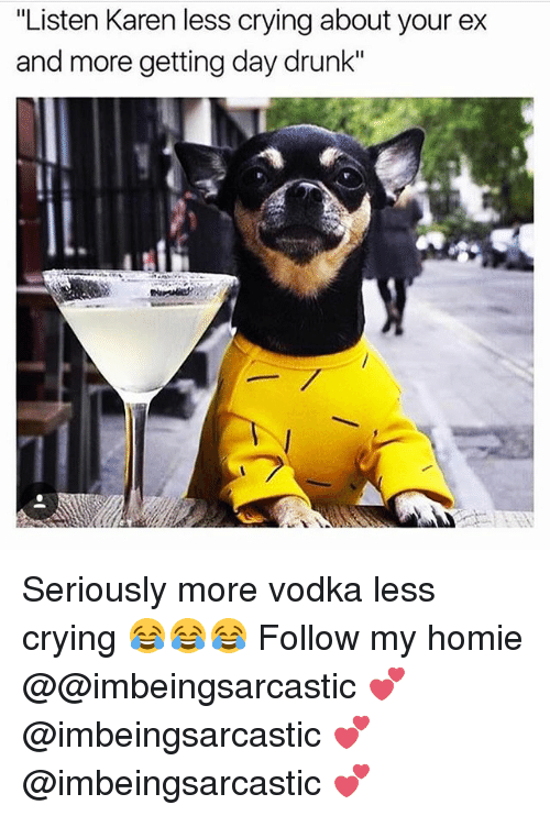 """Crying, Drunk, and Homie: """"Listen Karen less crying about your ex  and more getting day drunk"""" Seriously more vodka less crying 😂😂😂 Follow my homie @@imbeingsarcastic 💕 @imbeingsarcastic 💕 @imbeingsarcastic 💕"""