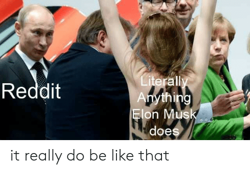 musk: Literally  Anything  Elon Musk  Reddit  does it really do be like that