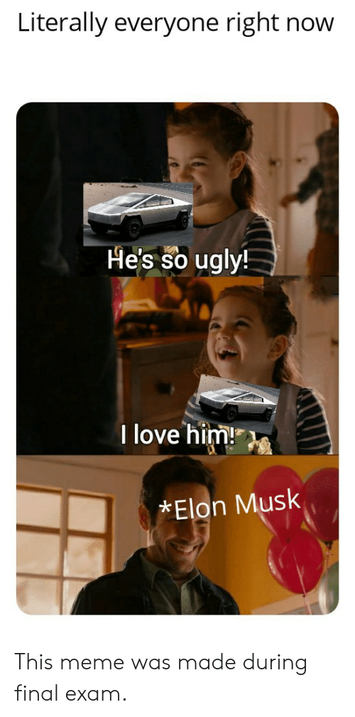 Love, Meme, and Ugly: Literally everyone right now  He's so ugly!  I love him!  Elon Musk This meme was made during final exam.