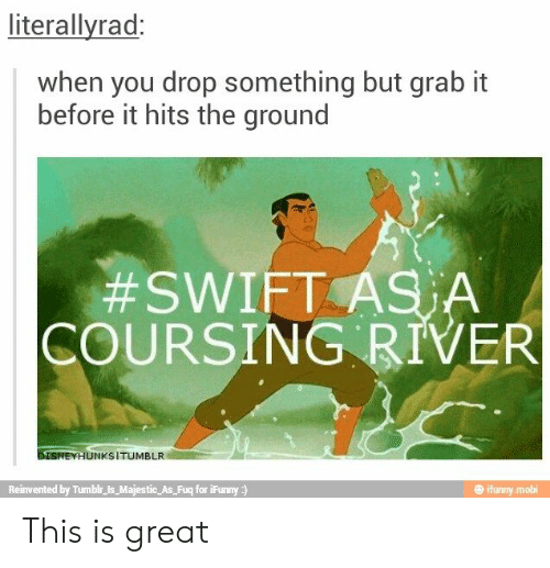 Tumblr, Swift, and River: literallyrad:  when you drop something but grab it  before it hits the ground  #SWIFT ASA  COURSING RIVER  DISNEYHUNKSITUMBLR  Reinvented by Tumblr_is_Majestic As Fuq for iFunny)  ifunny mobi This is great