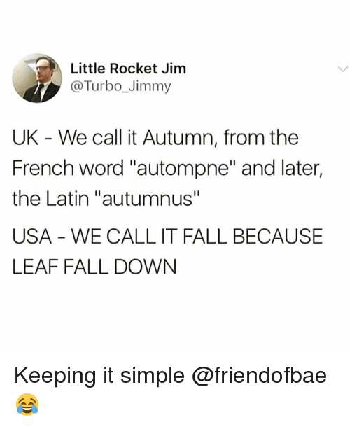 """Fall, Funny, and Word: Little Rocket Jim  @Turbo_Jimmy  UK - We call it Autumn, from the  French word """"autompne"""" and later,  the Latin """"autumnus""""  USA WE CALL IT FALL BECAUSE  LEAF FALL DOWN Keeping it simple @friendofbae 😂"""