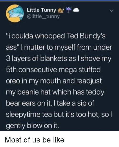 """beanie: Little Tunny  @little tunny  """"i coulda whooped Ted Bundy's  ass"""" I mutter to myself from under  3 layers of blankets as l shove my  5th consecutive mega stuffed  oreo in my mouth and readjust  my beanie hat which has teddy  bear ears on it. I take a sip of  sleepytime tea but it's too hot, so l  gently blow on it. Most of us be like"""