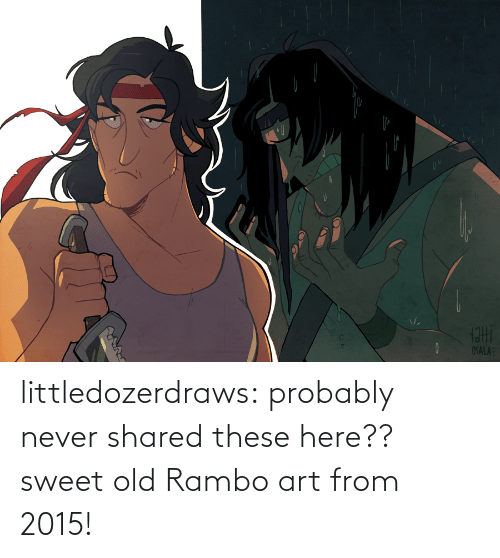 Shared: littledozerdraws:  probably never shared these here?? sweet old Rambo art from 2015!