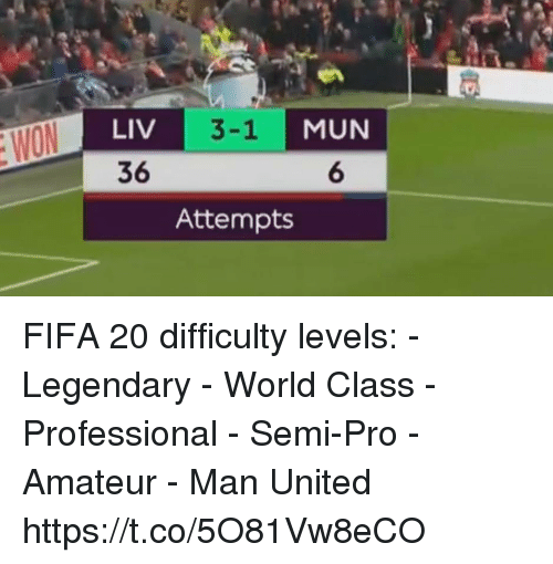 Fifa, Memes, and Semi-Pro: LIV  36  MUN  6  3-1  Attempts FIFA 20 difficulty levels:  - Legendary - World Class - Professional - Semi-Pro - Amateur  - Man United https://t.co/5O81Vw8eCO