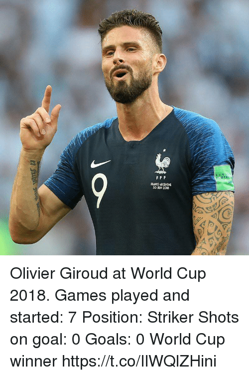Olivier: LIV  FRANCE-ARGENTINE  30 JUIN 2018 Olivier Giroud at World Cup 2018.  Games played and started: 7  Position: Striker  Shots on goal: 0  Goals: 0  World Cup winner https://t.co/IlWQlZHini