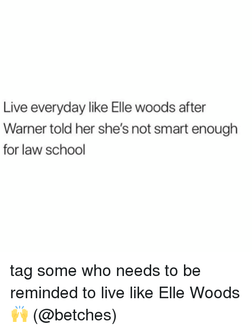 Memes, School, and Live: Live everyday like Elle woods after  Warner told her she's not smart enough  for law school tag some who needs to be reminded to live like Elle Woods 🙌 (@betches)