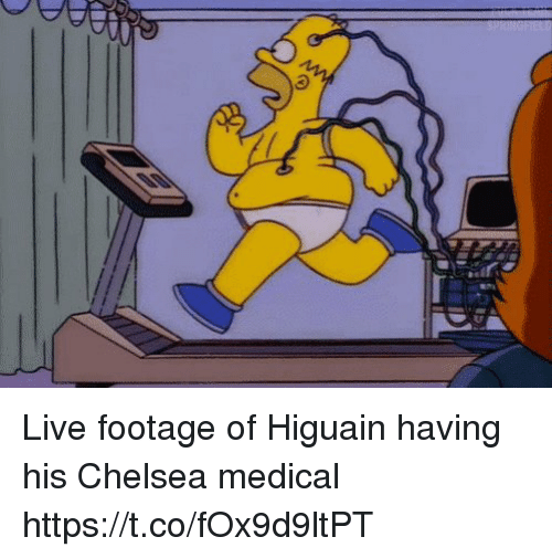 Chelsea, Memes, and Live: Live footage of Higuain having his Chelsea medical https://t.co/fOx9d9ltPT
