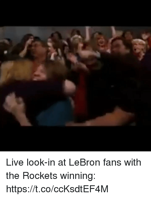 Sports, Lebron, and Live: Live look-in at LeBron fans with the Rockets winning: https://t.co/ccKsdtEF4M