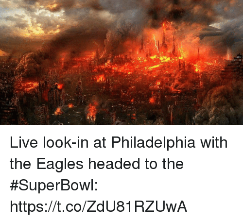 Philadelphia Eagles, Sports, and Live: Live look-in at Philadelphia with the Eagles headed to the #SuperBowl: https://t.co/ZdU81RZUwA
