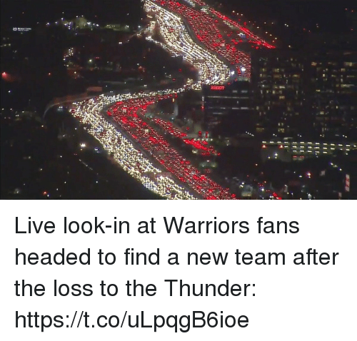 Sports, Live, and Warriors: Live look-in at Warriors fans headed to find a new team after the loss to the Thunder: https://t.co/uLpqgB6ioe