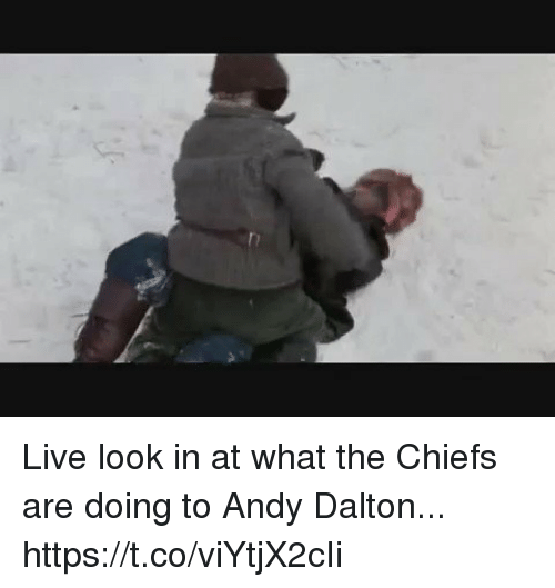 Football, Nfl, and Sports: Live look in at what the Chiefs are doing to Andy Dalton... https://t.co/viYtjX2cIi