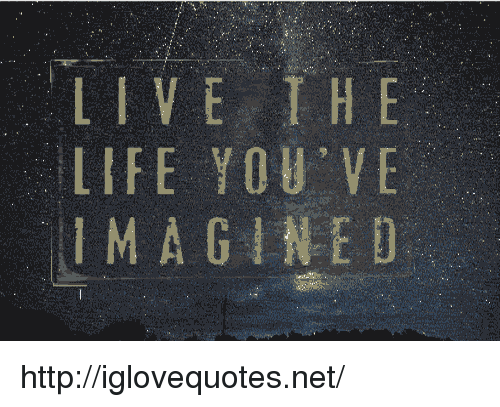 Life, Http, and Live: LIVE THE  LIFE YOU VE  IMA GINED http://iglovequotes.net/