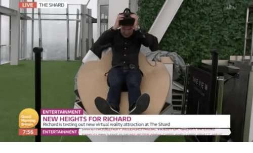 shard: LIVE  THE SHARD  ENTERTAINMENT  NEW HEIGHTS FOR RICHARD  Richard is testing out new virtual reality attraction at The Shard  7:56 ENTERTAINMENT