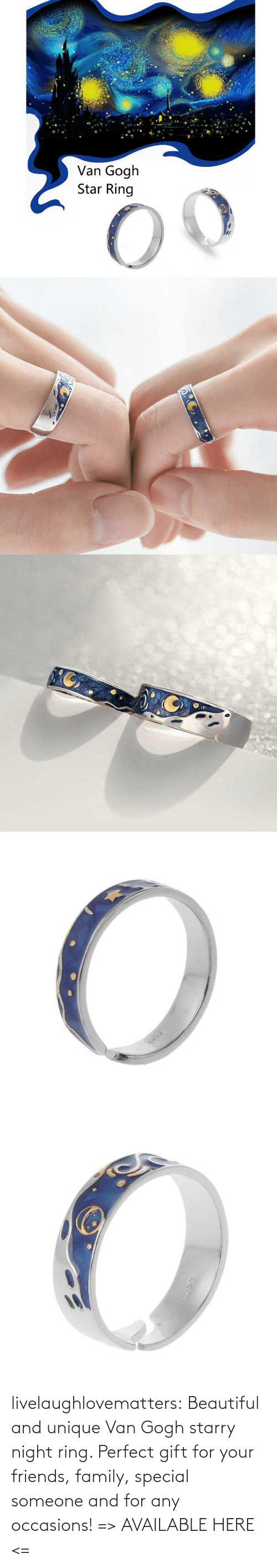sky: livelaughlovematters: Beautiful and unique Van Gogh starry night ring. Perfect gift for your friends, family, special someone and for any occasions! =>AVAILABLE HERE <=