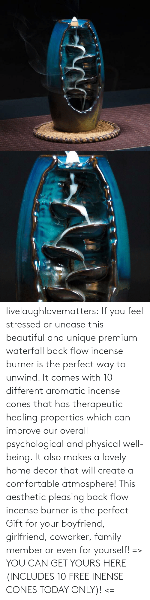 Girlfriend: livelaughlovematters: If you feel stressed or unease this beautiful and unique premium waterfall back flow incense burner is the perfect way to unwind. It comes with 10 different aromatic incense cones that has therapeutic healing properties which can improve our overall psychological and physical well-being. It also makes a lovely home decor that will create a comfortable atmosphere! This aesthetic pleasing back flow incense burner is the perfect Gift for your boyfriend, girlfriend, coworker, family member or even for yourself! => YOU CAN GET YOURS HERE (INCLUDES 10 FREE INENSE CONES TODAY ONLY)! <=