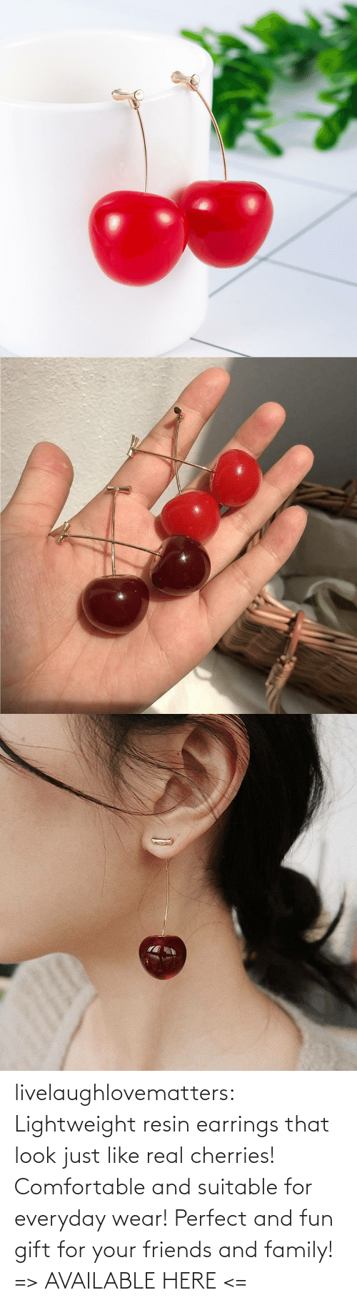 just: livelaughlovematters: Lightweight resin earrings that look just like real cherries! Comfortable and suitable for everyday wear! Perfect and fun gift for your friends and family! => AVAILABLE HERE <=