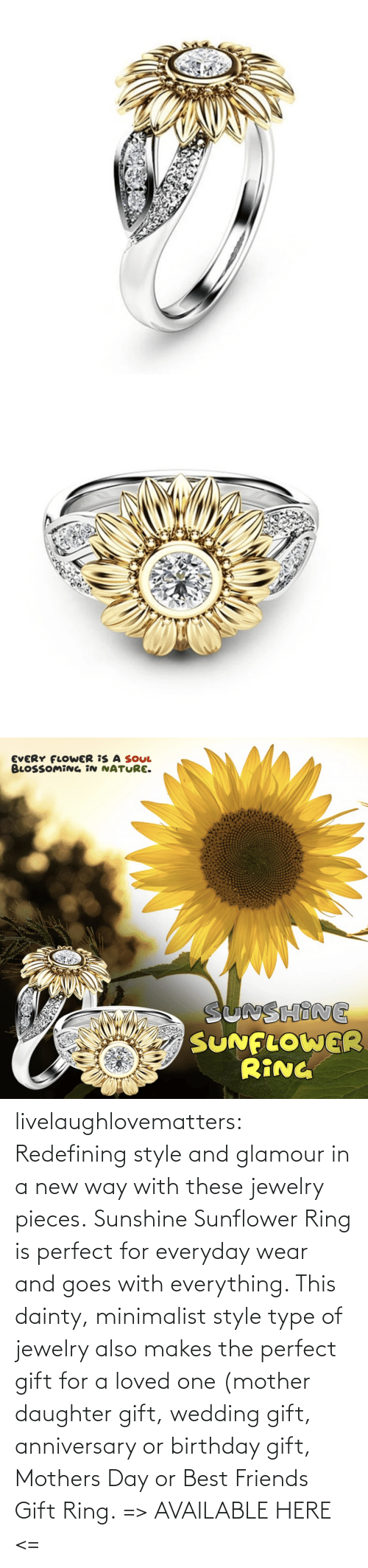 tumblr: livelaughlovematters:  Redefining style and glamour in a new way with these jewelry pieces. Sunshine Sunflower Ring is perfect for everyday wear and goes with everything. This dainty, minimalist style type of jewelry also makes the perfect gift for a loved one (mother daughter gift, wedding gift, anniversary or birthday gift, Mothers Day or Best Friends Gift Ring. => AVAILABLE HERE <=