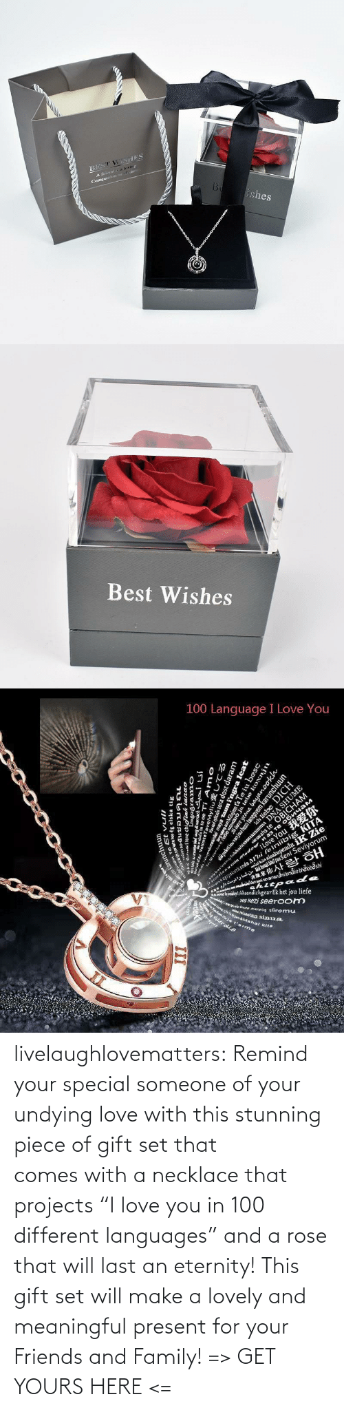 "Necklace: livelaughlovematters:  Remind your special someone of your undying love with this stunning piece of gift set that comes with a necklace that projects ""I love you in 100 different languages"" and a rose that will last an eternity! This gift set will make a lovely and meaningful present for your Friends and Family! => GET YOURS HERE <="