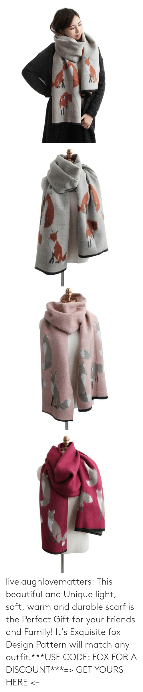 warm: livelaughlovematters:  This beautiful and Unique light, soft, warm and durable scarf is the Perfect Gift for your Friends and Family! It's Exquisite fox Design Pattern will match any outfit!***USE CODE: FOX FOR A DISCOUNT***=> GET YOURS HERE <=