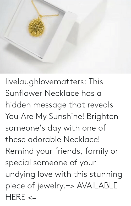 Hidden Message: livelaughlovematters:  This Sunflower Necklace has a hidden message that reveals You Are My Sunshine! Brighten someone's day with one of these adorable Necklace! Remind your friends, family or special someone of your undying love with this stunning piece of jewelry.=> AVAILABLE HERE <=