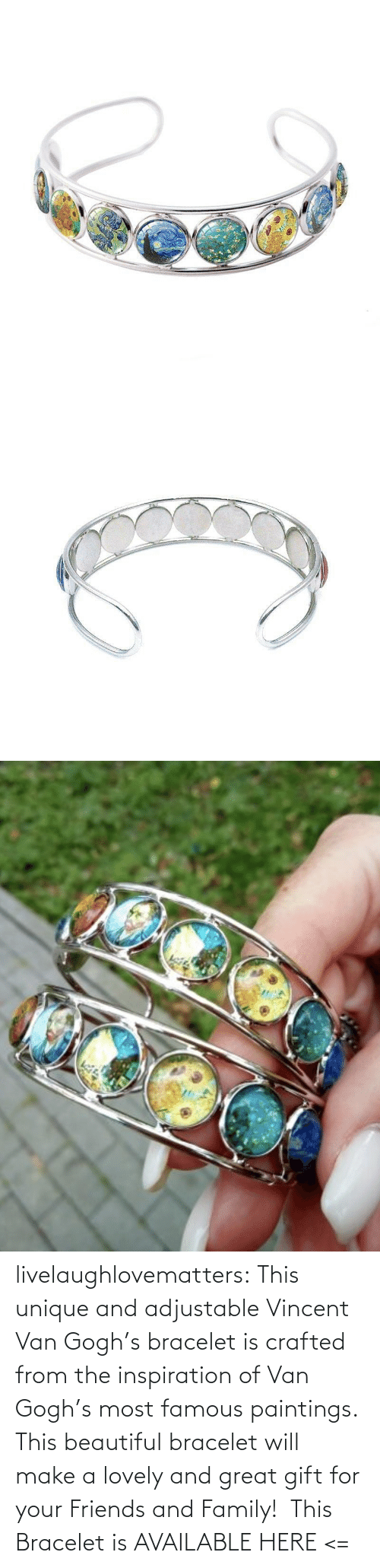 Paintings: livelaughlovematters: This unique and adjustable Vincent Van Gogh's bracelet is crafted from the inspiration of Van Gogh's most famous paintings. This beautiful bracelet will make a lovely and great gift for your Friends and Family!  This Bracelet is AVAILABLE HERE <=