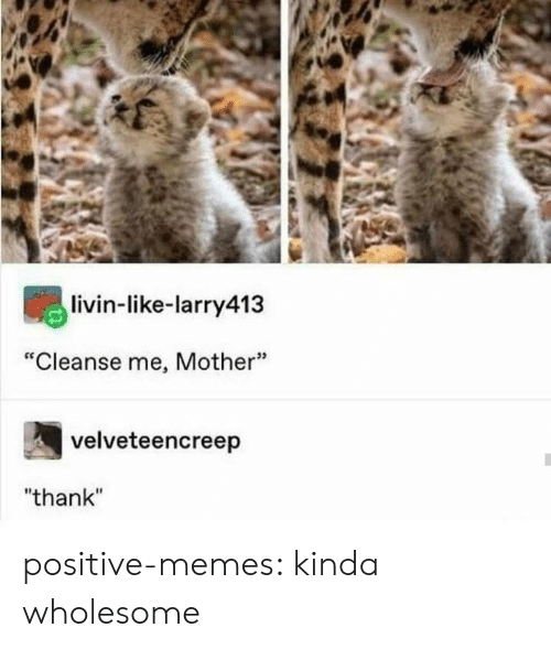 "Memes, Tumblr, and Blog: livin-like-larry413  ""Cleanse me, Mother""  velveteencreep  ""thank"" positive-memes: kinda wholesome"