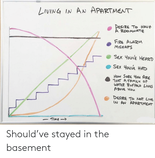 lives: LIVING IN AN APARTMENT  DESIRE TO HAVE  A ROOMMATE  FIRE ALARM  MISHAPS  SEX Youve HEARD  Sex Youve HAD  How SURE You ARE  THAT A FAMILY OF  WATER BUFFALD LIVES  ABOVE Uou  DESIRE TO NOT LIVE  IN AN APARTMENT  TIME -> Should've stayed in the basement